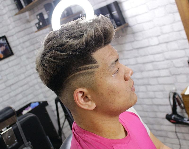 tóc nam mặt tròn