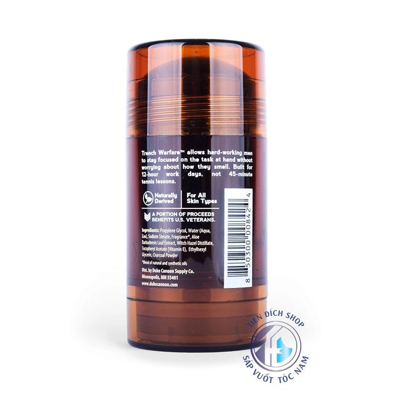 Duke Cannon Natural Charcoal Deodorant Trench Warfare Sandalwood Amber